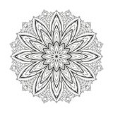 Flower monochrome geometrical vector mandala is isolated on a white background. Decorative element with east motives for design Stock Images