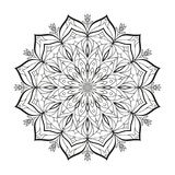 Flower monochrome vector mandala is isolated on a white background. Decorative element with east motives for design Royalty Free Stock Images