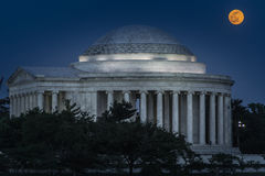 'Flower Moon' over the Jefferson Memorial Stock Image