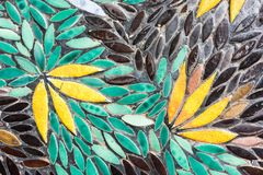 Flower mosaic pattern with green yellow and black colour. Top view Royalty Free Stock Photography