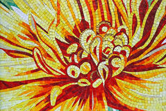 Flower mosaic. A tile depicting a colorful flower in mosaic Royalty Free Stock Image