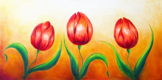 Flower motive, three dancing red tulip flowers, beautiful bright colorful painting on ocre background. Royalty Free Stock Image