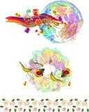 Flower motives in art style Stock Images