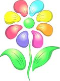 Flower with multicolored petals. A symbol of nature, love, gift Royalty Free Stock Images