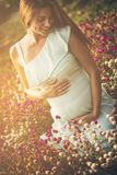 Flower of my life. Pregnant woman standing in a flowers. Close up. Copy space stock photos