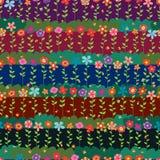 Flower natural batik horizontal seamless pattern Royalty Free Stock Photos