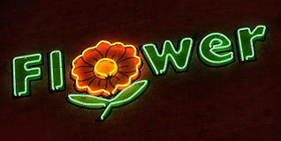 Flower Neon Sign in Green Stock Photo