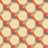 Flower Net Pattern on Beige Background Stock Photos