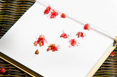 Flower on notebook abstrack background. Royalty Free Stock Image