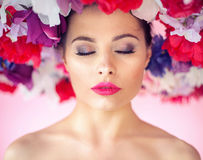 Flower nymph with a perfect clean complexion Stock Images