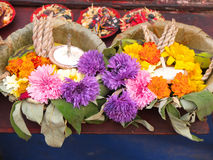 Flower offering at temple Royalty Free Stock Photo