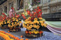 Flower offerings along the temple walls Royalty Free Stock Photo