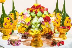 Flower offerings for Buddha Royalty Free Stock Images