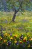 Fine Arts Like Monet impressionism flowers painting claude oil landscape field paint. Stock Photography