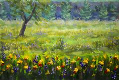 Fine Arts Like Monet impressionism flowers painting claude oil landscape field paint. Royalty Free Stock Images