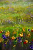 Fine Arts Like Monet impressionism flowers painting claude oil landscape field paint. vector illustration