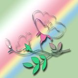 Flower On Pink Green Blue Background Stock Images