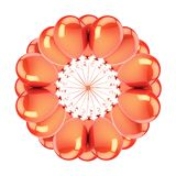 Flower of orange party balloons abstract. helium balloon circle. Decoration round greeting card design element. 3d illustration, isolated vector illustration