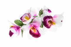 Flower, orchid flower print in soft colors made from fabric. Stock Photos
