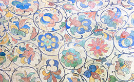 Flower ornament. (18 centuries) on a ceiling in the St.Basil's Cathedral (Pokrovsky Cathedral) (1555-1561). Russia. Moscow. Red square Stock Photo