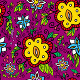 Flower ornament baskground. Seamless pattern background with decorative flowers and leaves Vector Illustration