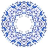 Flower ornament with blue birds and flowers in a circle. Template design in ethnic style. Frame Gzhel porcelain painting. Vector illustration royalty free illustration