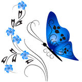 Flower ornament with butterfly Stock Images