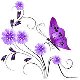 Flower ornament with butterfly. Stock Images