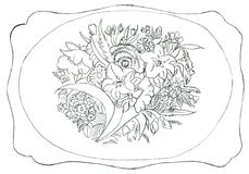 Flower ornament - hand drawn illustration Royalty Free Stock Photo