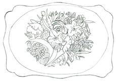 Flower ornament - hand drawn illustration royalty free stock photo