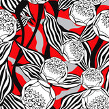 Flower ornamental tiles wallpaper. Floral pattern. Stock Photos