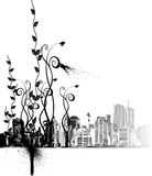 Flower ornaments and the city Royalty Free Stock Photography