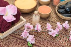 Flower and spa objects for Spa aroma Royalty Free Stock Image