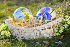 Flower painted eggs Stock Images