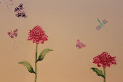 Flower painting. On the wall, Thailand Stock Photography