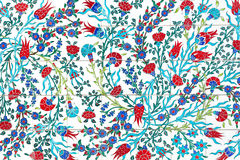 Flower painting art pattern on the wall in park.  Royalty Free Stock Photography