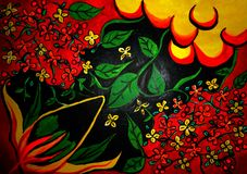 Flower painting on canvas created background design. As abstract wallpaper royalty free stock images