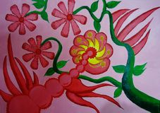 Flower painting on canvas created background design. As abstract wallpaper royalty free illustration