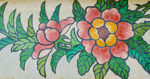 Flower painting on granite wall Royalty Free Stock Photography