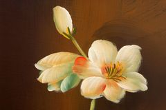 Flower painting on wood Royalty Free Stock Photos