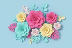 Flower paper style, colorful rose, paper craft floral, 3d rendering, with clipping path. Flower paper style, colorful rose, paper craft floral on blue vector illustration