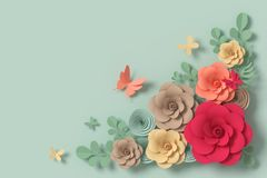 Flower paper style, colorful rose, paper craft floral, Butterfly paper fly, 3d rendering, with clipping path. Flower paper style, colorful rose, paper craft royalty free illustration