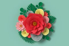 Flower paper style, colorful rose, paper craft floral, Butterfly paper fly on Green background , 3d rendering, with clipping path. Flower paper style, colorful stock illustration