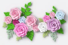 Flower paper style, colorful rose, paper craft floral, 3d rendering, with clipping path. vector illustration