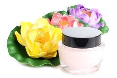Flower and parfum glasses Royalty Free Stock Photos
