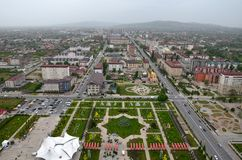 Flower Park with the symbol of the six-pointed star of David and views of the city of Grozny, Chechnya, Russia. Top view royalty free stock image