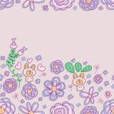 Flower pastel bear frame seamless pattern Stock Photography