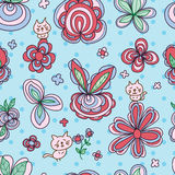 Flower pastel cat cute seamless pattern. This illustration is drawing pastel flower color with cute cat in dotted blue background and seamless pattern Stock Image