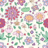 Flower pastel cute happy seamless pattern Royalty Free Stock Image
