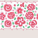 Flower pastel drawing center seamless pattern Stock Images